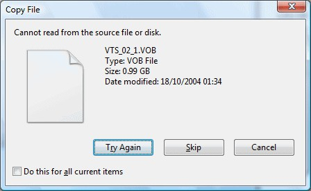can't read source file disk