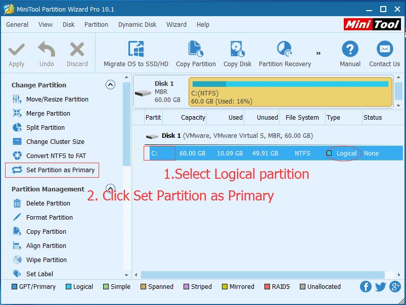 set partition as primary