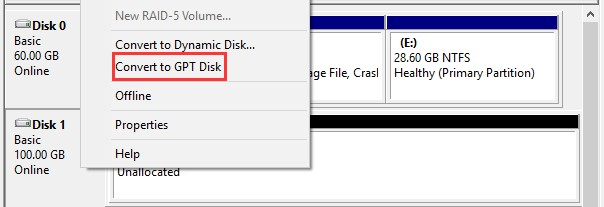 disk manager convert to gpt