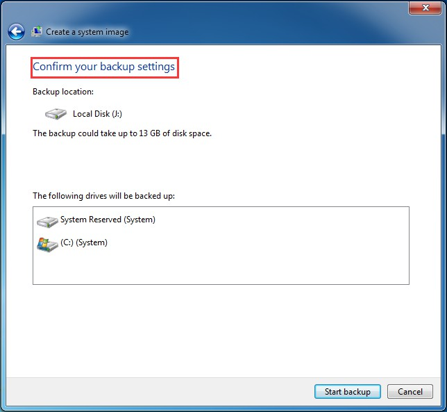 confirm backup setting