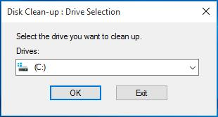 select drive to clean up