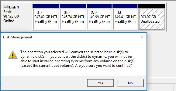the operation you selected will convert the selected basic disk(s) to dynamic disk(s) คือ