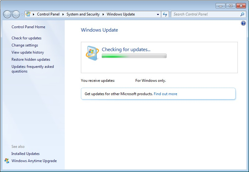 microsoft update stuck in loop checking windows 7