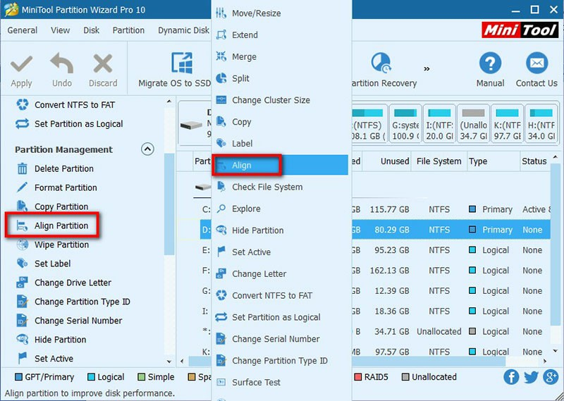 align partition select target partition and choose function