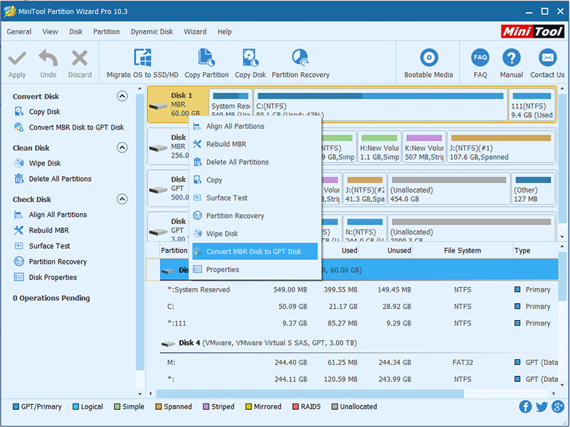 MiniTool Partition Wizard Free Edition 10.3