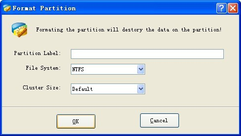 if you want to format partition to avoid troubles select the