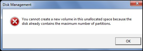 disk already contains the maximum number of partitions
