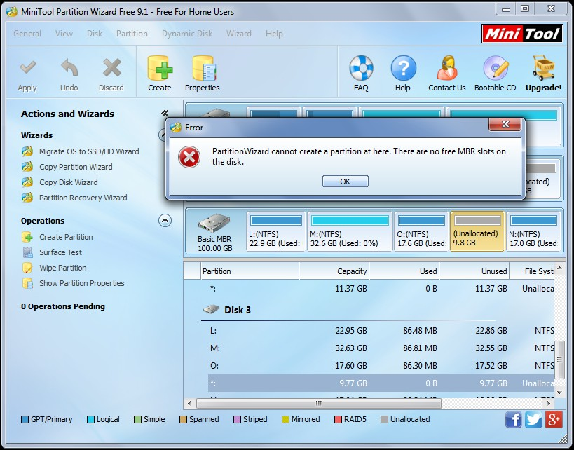 Partition wizard no free mbr slots
