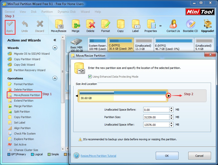 resize partition pw