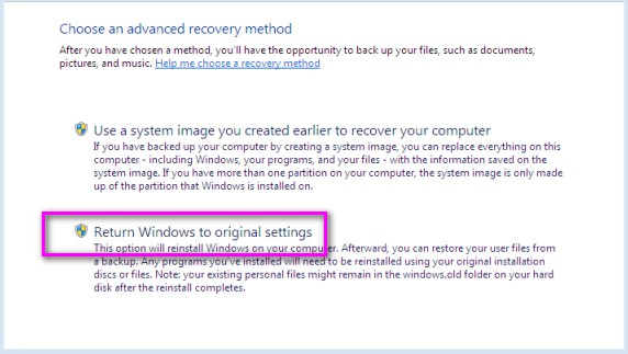 return windows to original setting