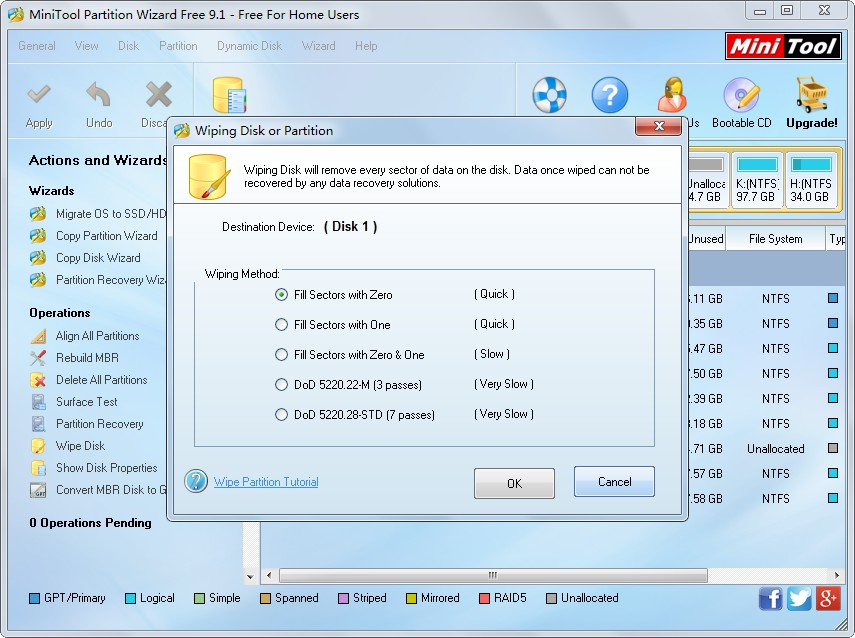 wipe hard disk of pc or laptop choose a wiping method