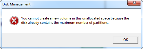 windows 7 create partition error