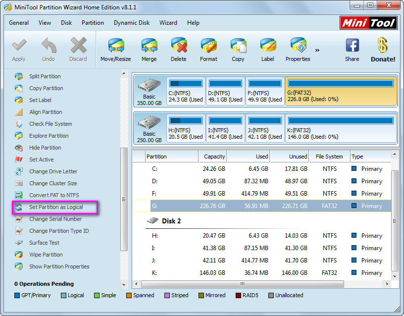 how to create more partitions on mbr disk set primary partition logical