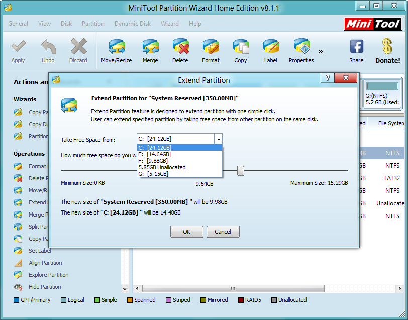 how to extend system reserved partition take free space