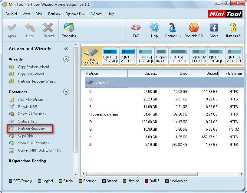 minitool partition wizard main interface