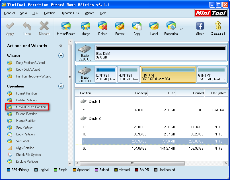 minitool partition wizrd main interface