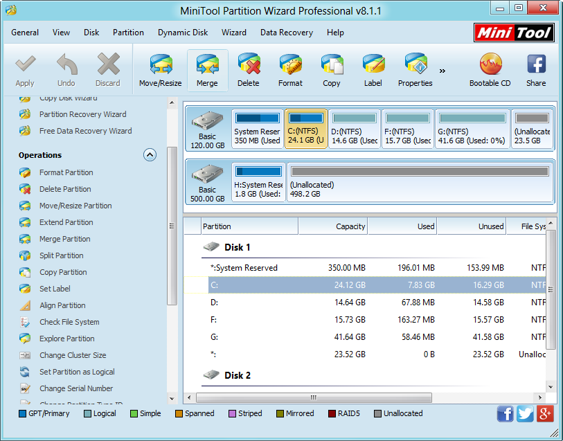 Partition manager main interface