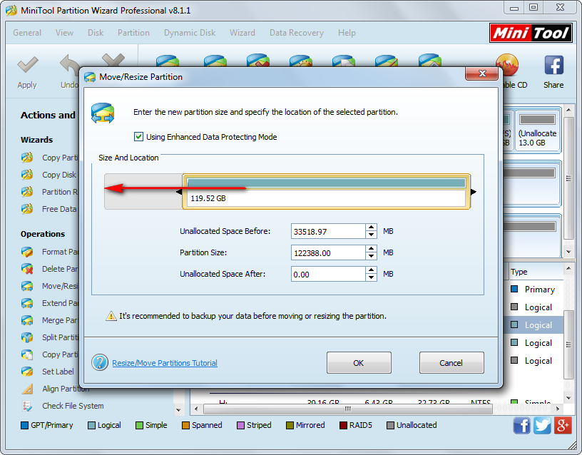 how to merge unallocated spaces move partition G