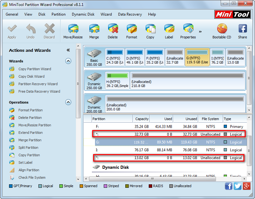 minitool partition wizard main window