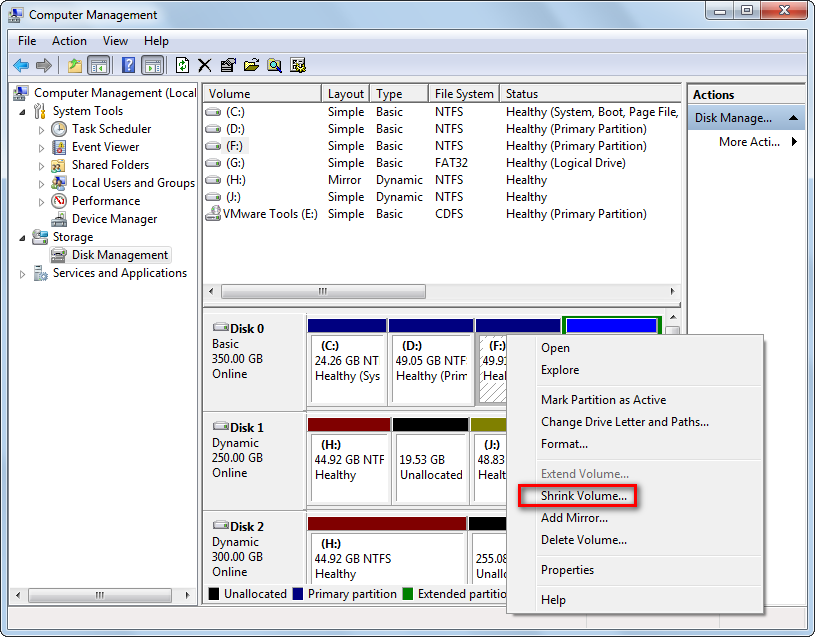 disk management tool of windows 7