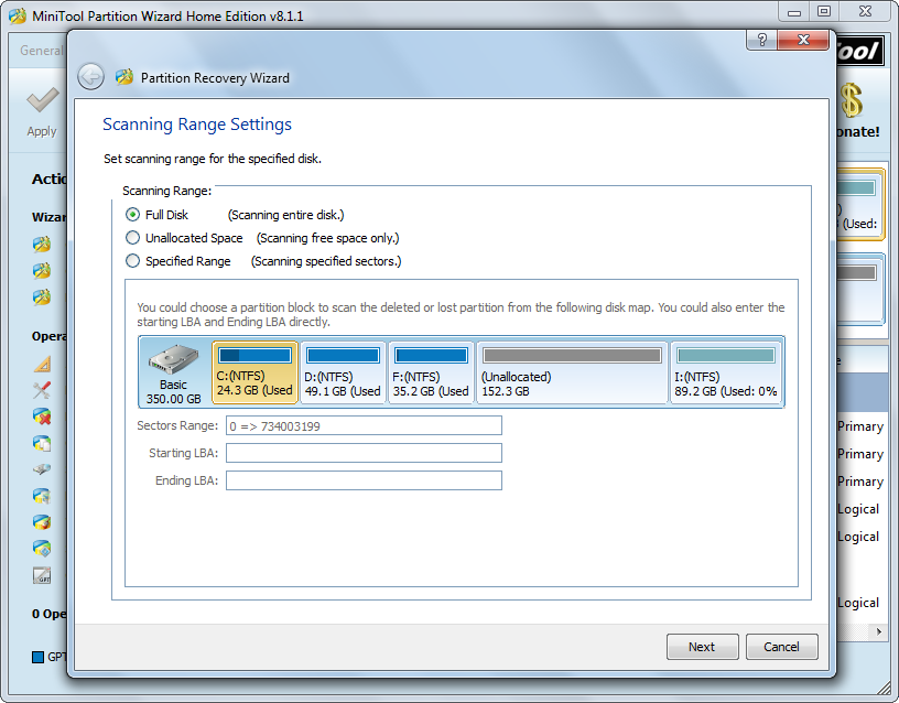 recover partition set scanning range