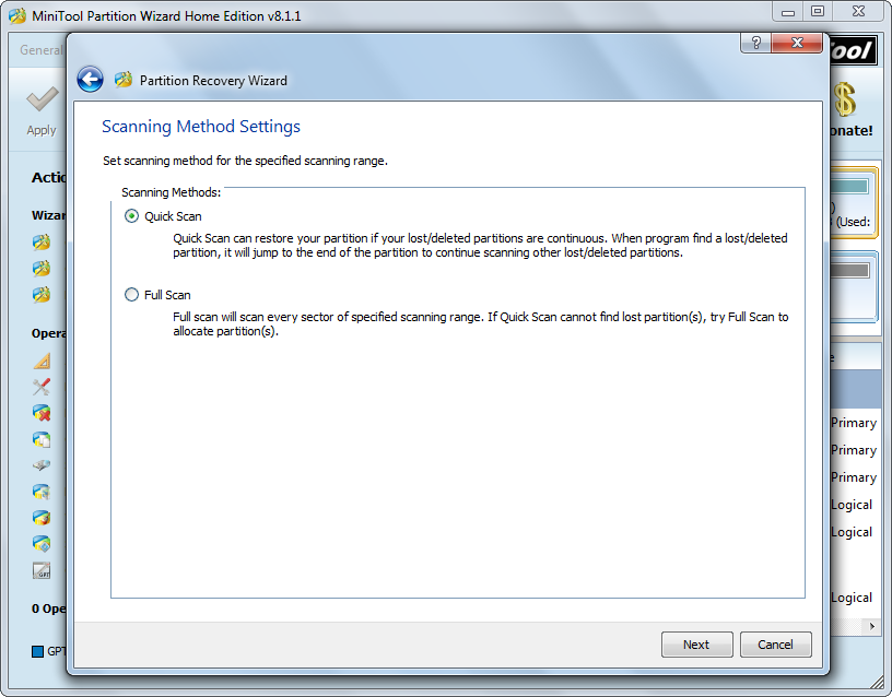 recover partition set scanning method