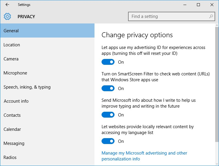 privacy issues in windows 10