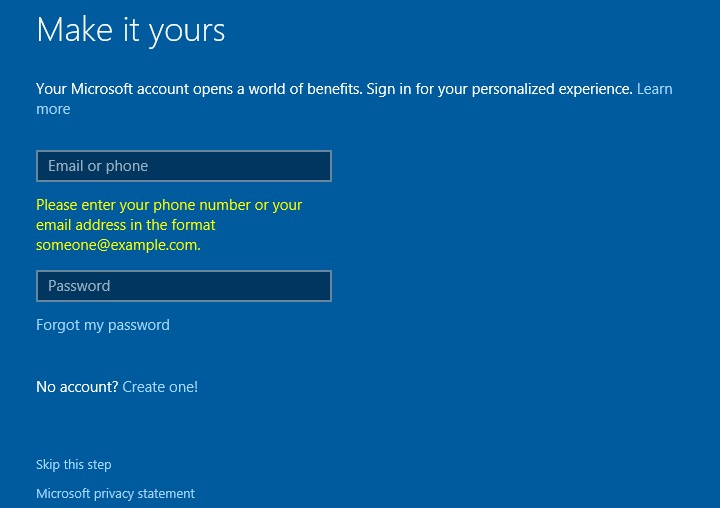install windows 10 sign in with microsoft account