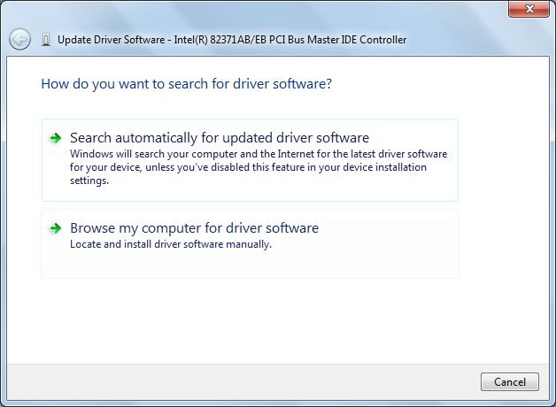 update driver software in device manager