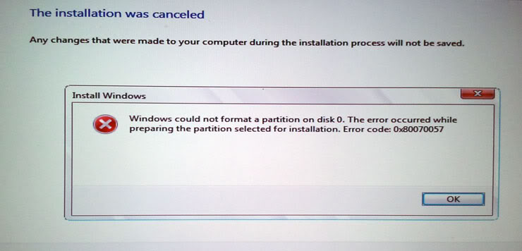 windows could not format a partition
