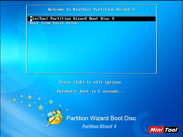 partition wizard boot disc welcome page