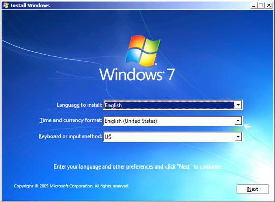 language screen of windows installation disk