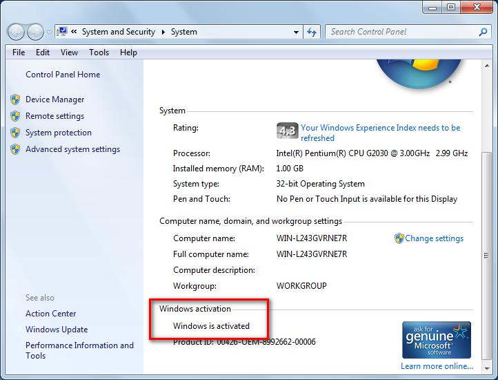 check system status in windows 7