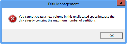 can't create partition in disk management