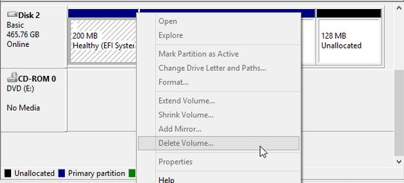 how to delete disk 0 partition 1