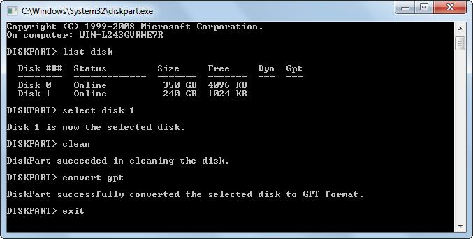 convert partition style in diskpart