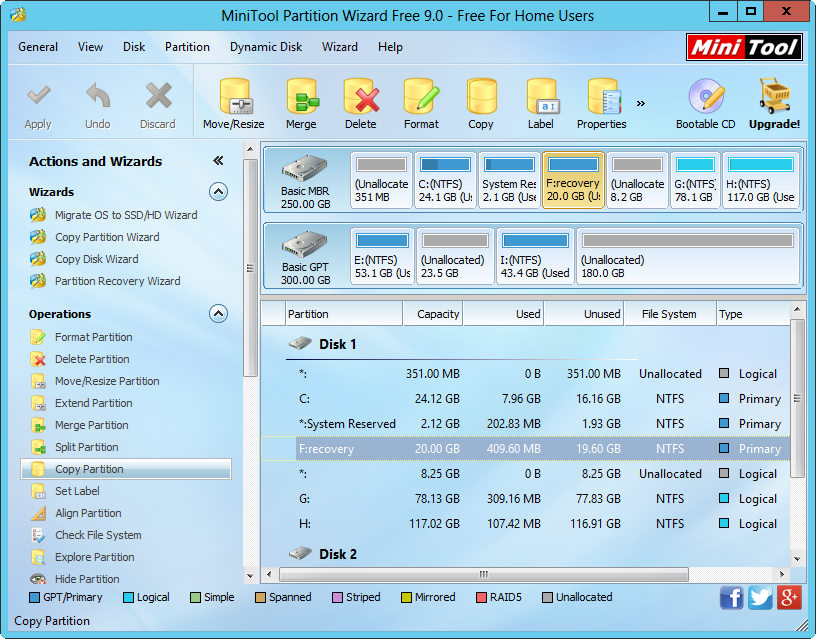 minitool partition wizard free main interface