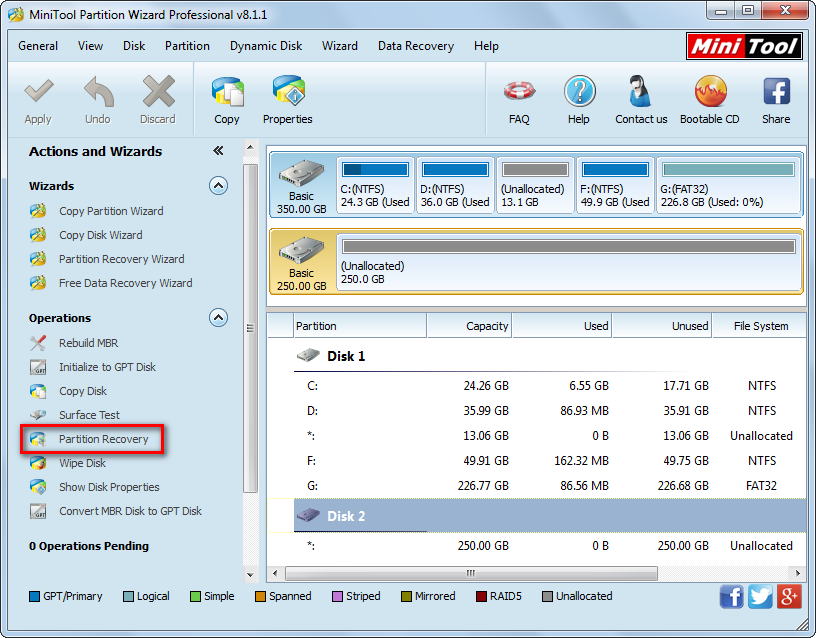 minitool partition recovery main interface