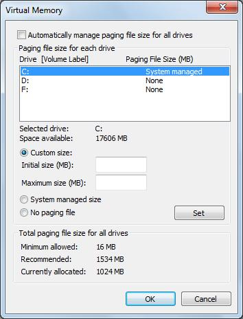 change page file size type needed page file size