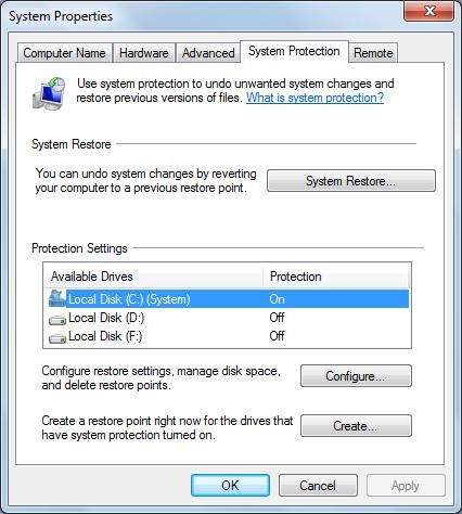 configure system protection