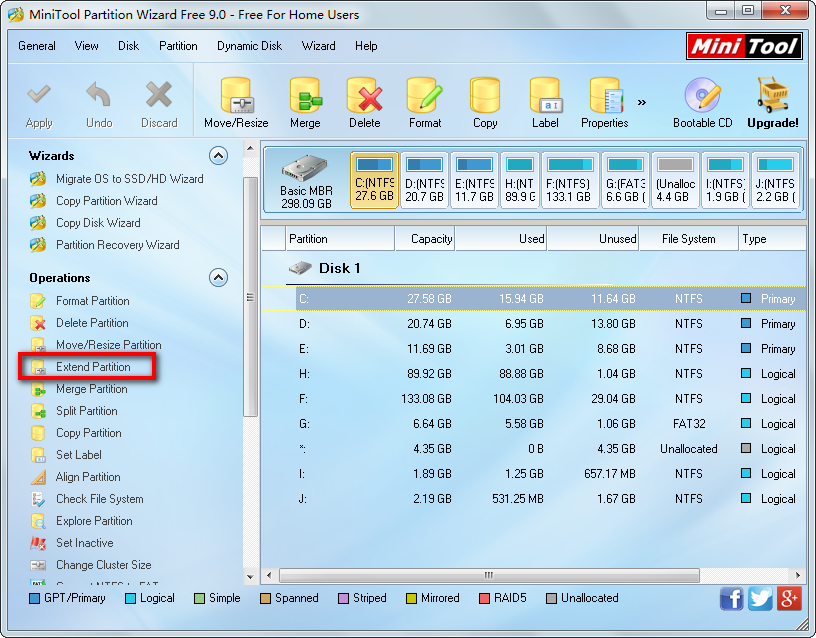 minitool partition wizad main interface