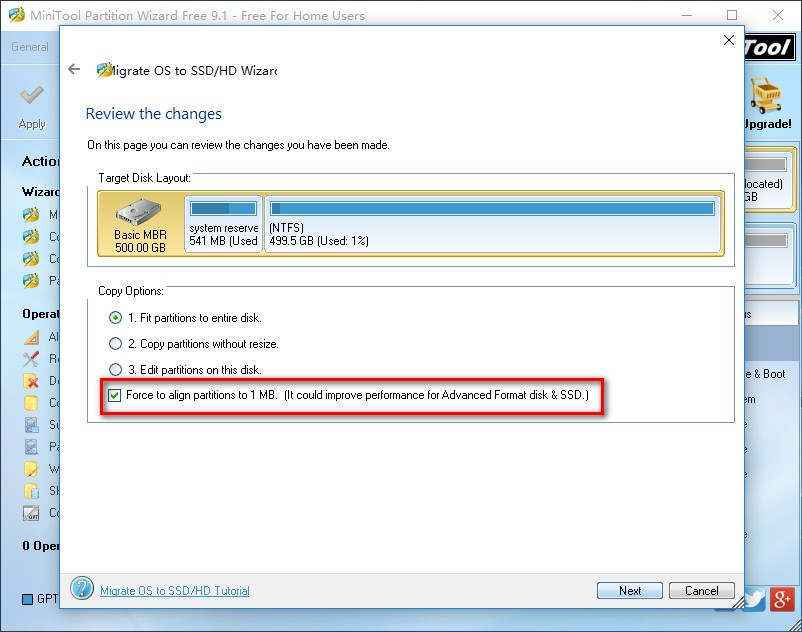 migrate system to ssd select copy method