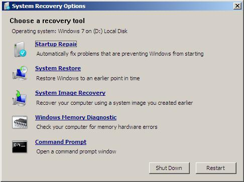 recovery tools in windows installation disk