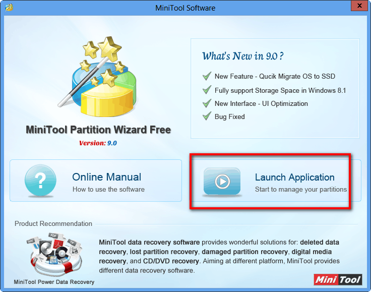 minitool partition wizard starting interface