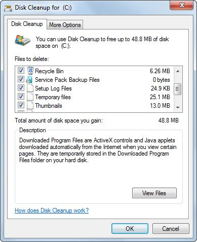 disk cleanup select files to delete
