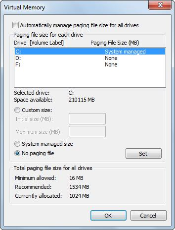 move page file to another partition disable page file in drive c