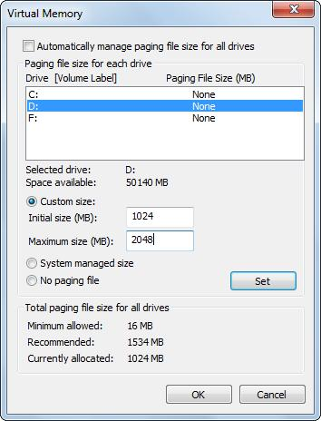 move page file to another partition select the new partition to move page file to