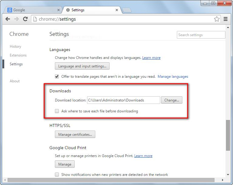 change default downloading path of browser to free up space