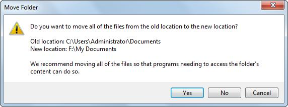move folder to anohter location confirm operation