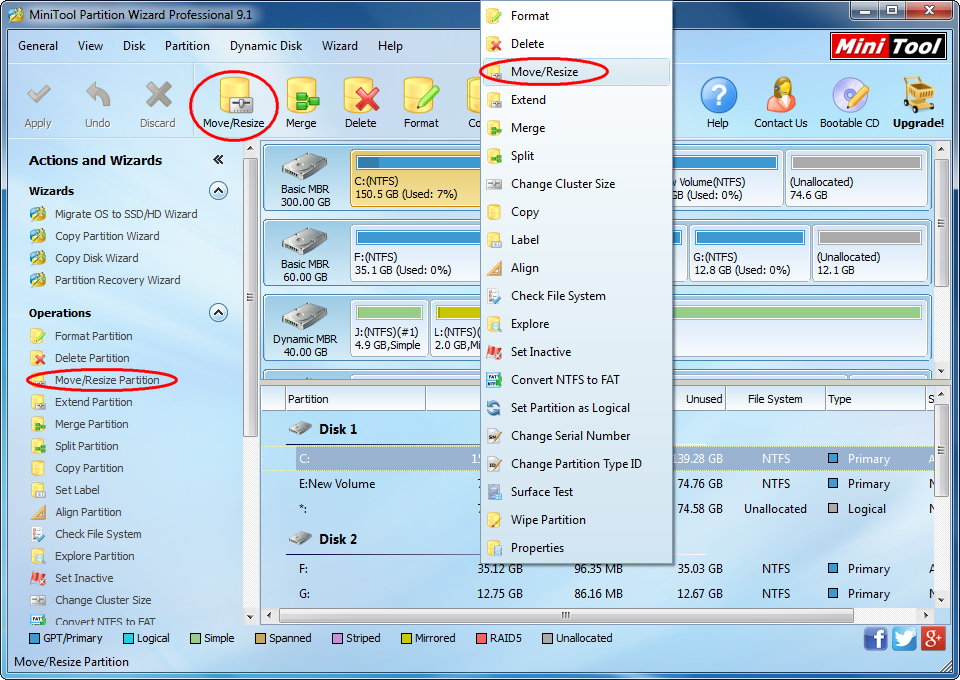 Resize windows 7 partition with partition magic for Window resize